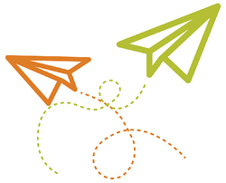Two paper airplanes representing the Brain Waves newsletter
