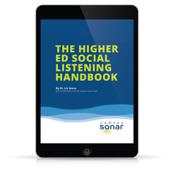 The Higher Ed Social Listening Handbook tablet image