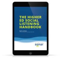The Higher Ed Social Listening Handbook tablet image